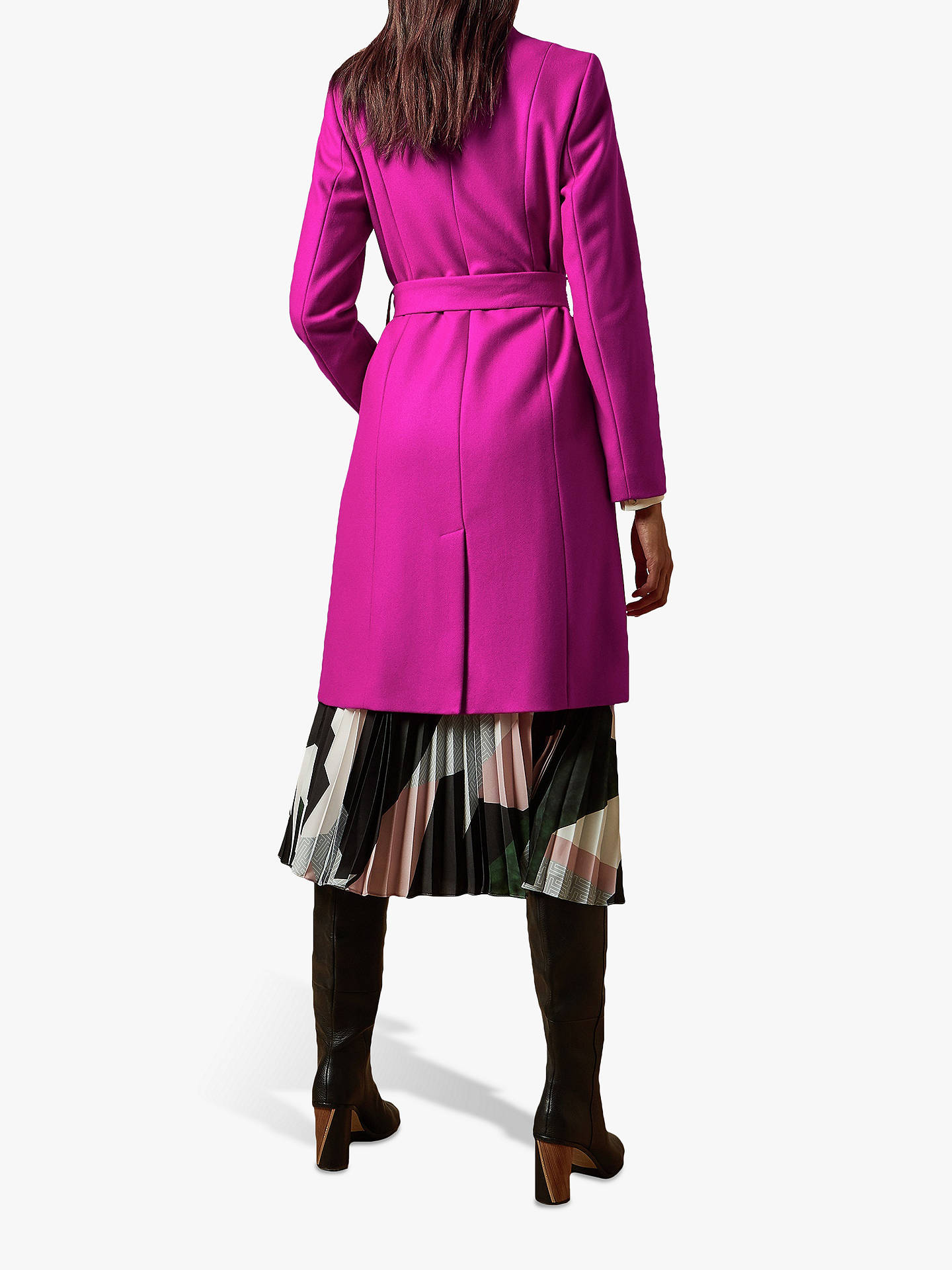 Buy Ted Baker Skyyler Belted Wool Cashmere Coat, Hot Pink, XXS Online at johnlewis.com