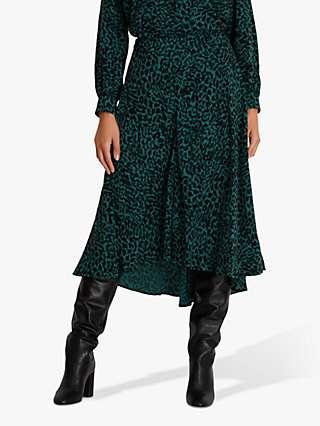 Fenn Wright Manson Petite Anouska Leopard Print Skirt, Green Animal