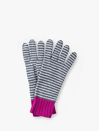 Pure Collection Cashmere Stripe Gloves, Grey Colourblock
