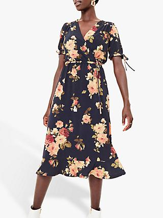 Oasis Rose Wrap Dress, Blue
