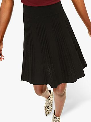 Oasis Polly Pleated Skirt, Black