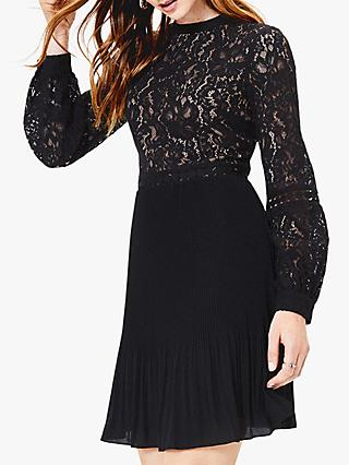 Oasis Lace Skater Dress, Black