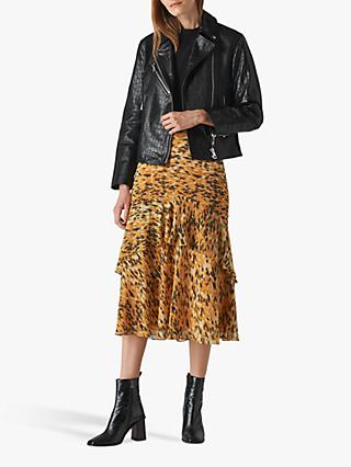 Whistles Adriana Leather Croc Embossed Biker Jacket, Black