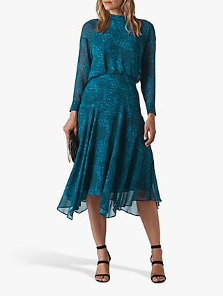 Whistles Carlotta Flared Dress, Teal