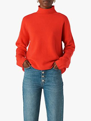 Whistles Wool Roll Neck Jumper, Flame