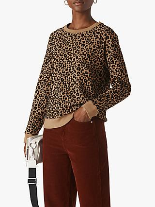 Whistles Leopard Flocked Sweatshirt, Camel