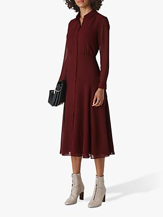 Whistles Carys Midi Shirt Dress, Burgundy