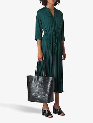 Whistles Wendy Pleat Shirt Dress, Dark Green