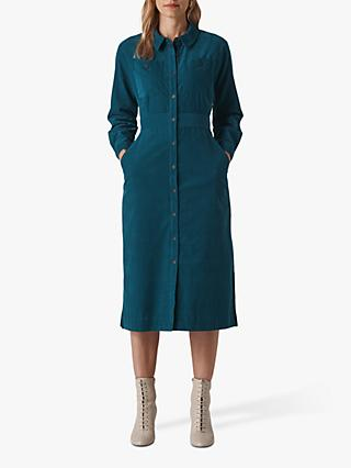 Whistles Romaine Cord Midi Shirt Dress, Teal