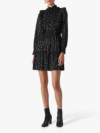 Whistles Burnout Ruffle Mini Dress, Black/White