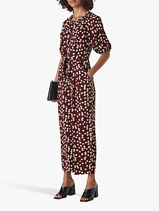 Whistles Abstract Floral Jumpsuit, Burgundy