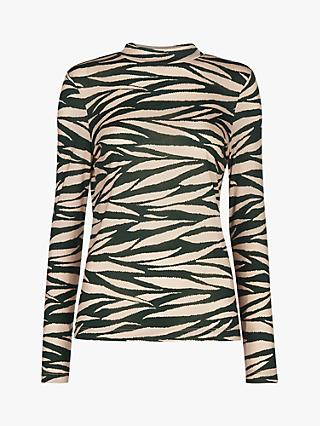 Whistles Tiger Stripe Essential Top, Green/Multi