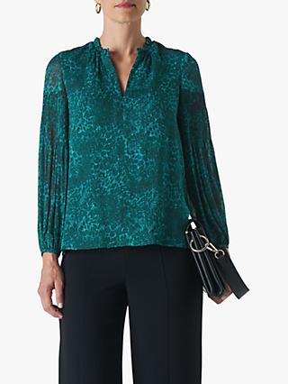 Whistles Big Cat Print Dobby Blouse, Teal