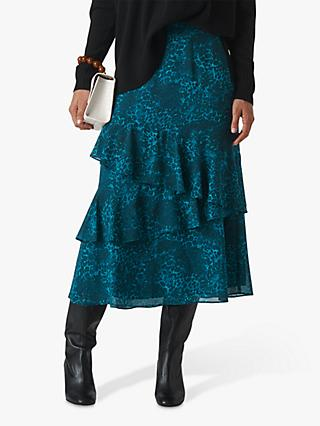 Whistles Big Cat Print Tiered Midi Skirt, Teal