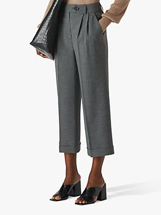 Whistles Turn Up Cropped Trousers, Grey