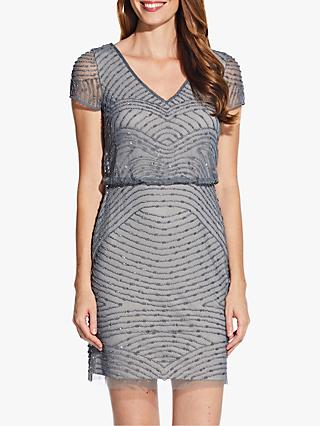 Adrianna Papell Blouson Beaded Dress, Pewter/Silver