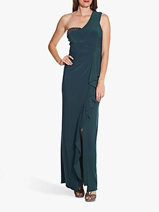 Adrianna Papell One Shoulder Gown, Midnight Teal