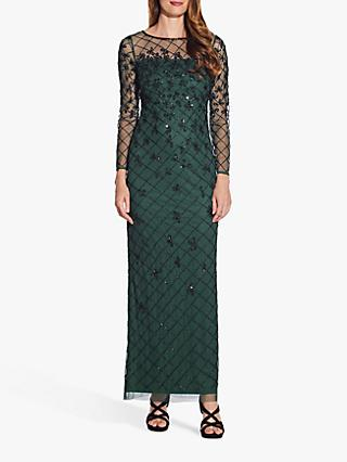 Adrianna Papell Beaded Long Gown, Dusty Emerald