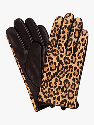 Phase Eight Liz Leopard Print Leather Gloves, Multi