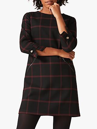 Phase Eight Hermione Check Dress, Black/Red
