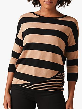 Phase Eight Devonna Wide Stripe Jumper, Camel/Black
