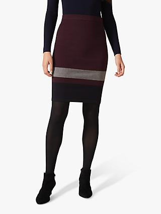 Phase Eight Celine Colour Block Skirt, Burgundy