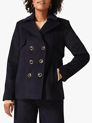 Phase Eight Paula Pea Coat, Navy