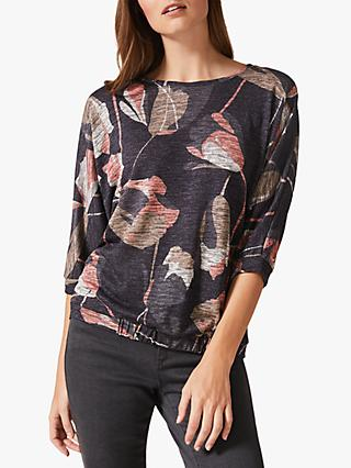 Phase Eight Paris Floral Print Jersey Top, Navy