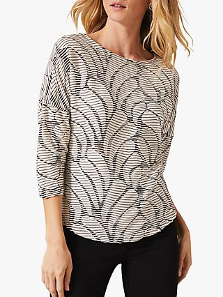 Phase Eight Hensley Wave Top, Black/Ecru