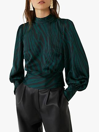 Warehouse Satin Zebra High Neck Top, Green Print