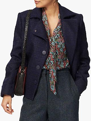Brora Boucle Wool Jacket, French Navy