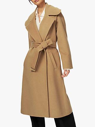 Brora Wool Blend Belted Coat, Camel