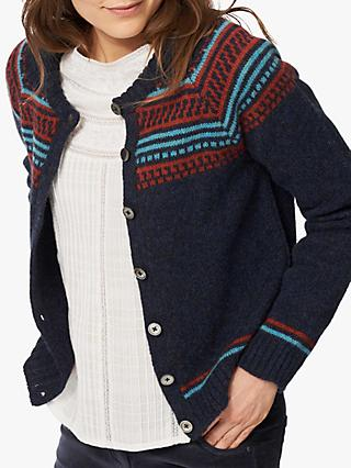 Brora Lambswool Folk Cardigan, Midnight