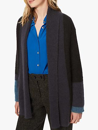 Brora Mohair Colour Block Cardigan, Black/Raven