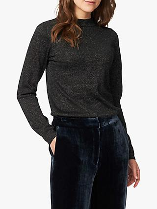 Brora Merino Wool Blend Sparkle Jumper, Black