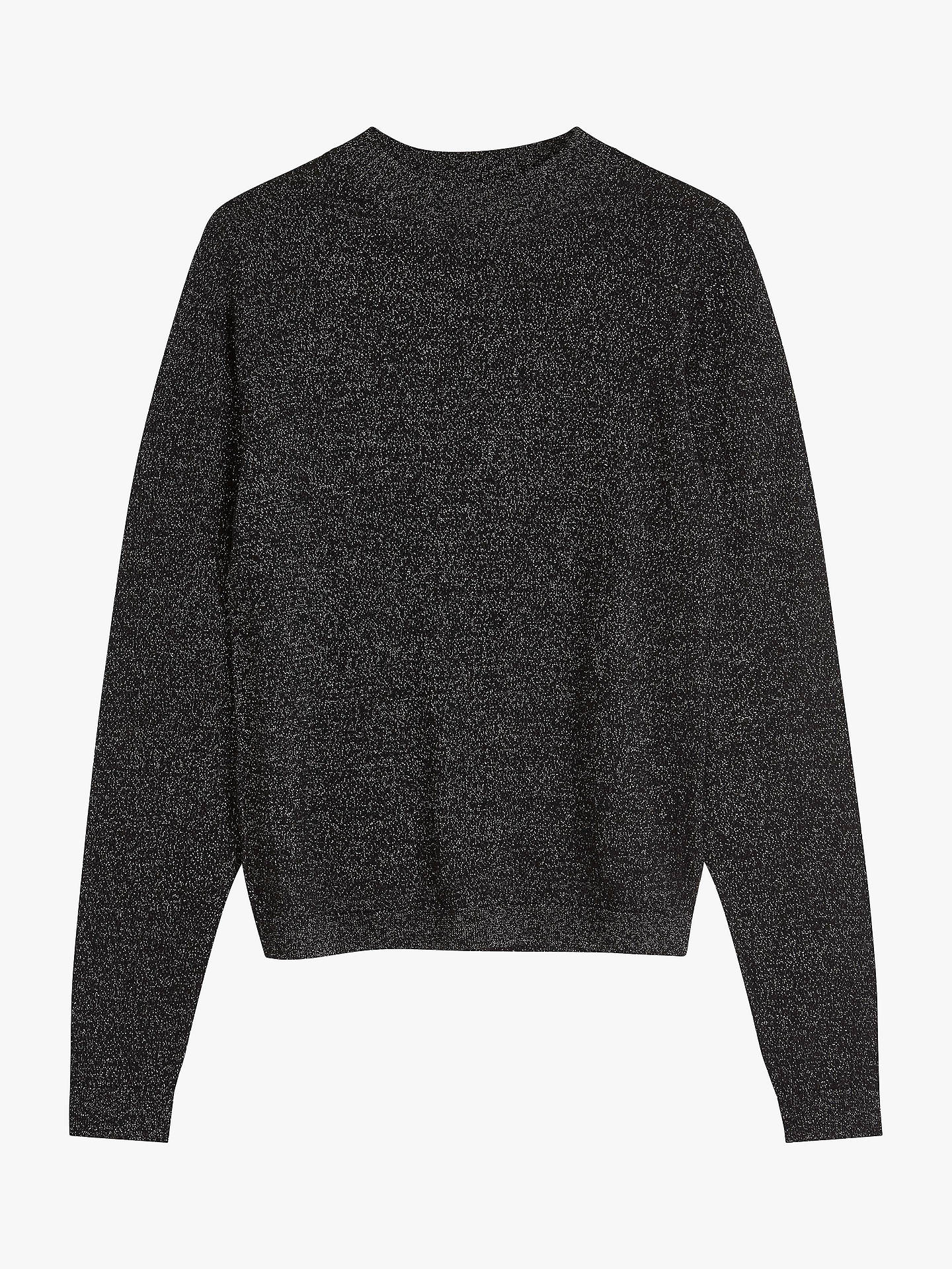 Buy Brora Merino Wool Blend Sparkle Jumper, Black, 10 Online at johnlewis.com