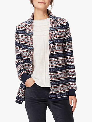 Brora Cashmere Fair Isle Cardigan, French Navy