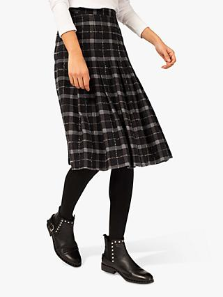 Brora Plaid Wool Kilt Skirt, Charcoal