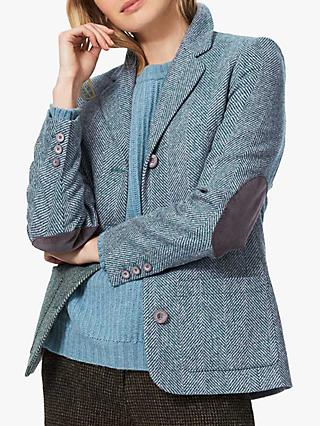 Brora Herringbone Wool Jacket, Kingfisher/Silver