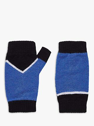 Brora Cashmere Chevron Wrist Warmer Gloves, Black/China Blue