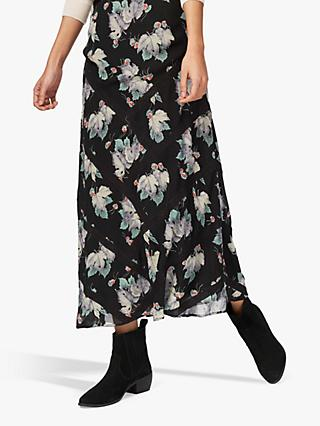 Brora Silk Chevron Lace Skirt, Ivy Woodland