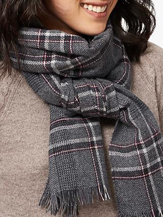 Brora Cashmere Tweed Scarf, Charcoal/Swan