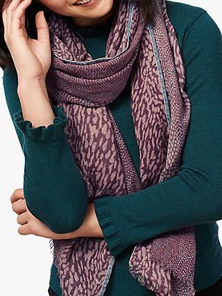 Brora Wool Snake Print Stole Scarf, Wild Rose/Dove