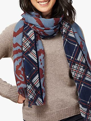 Brora Ikat and Plaid Wool Stole Scarf, Henna & Frost