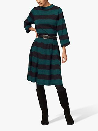 Brora Merino Wool Stripe Flared Dress
