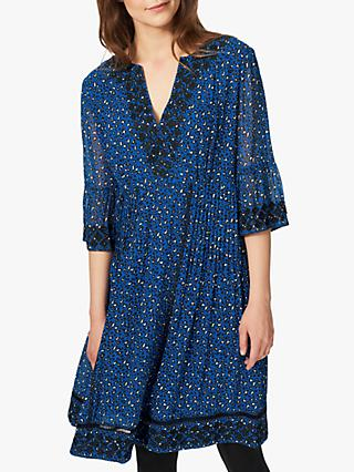 Brora Leopard Print Embroidered Silk Dress, China Blue
