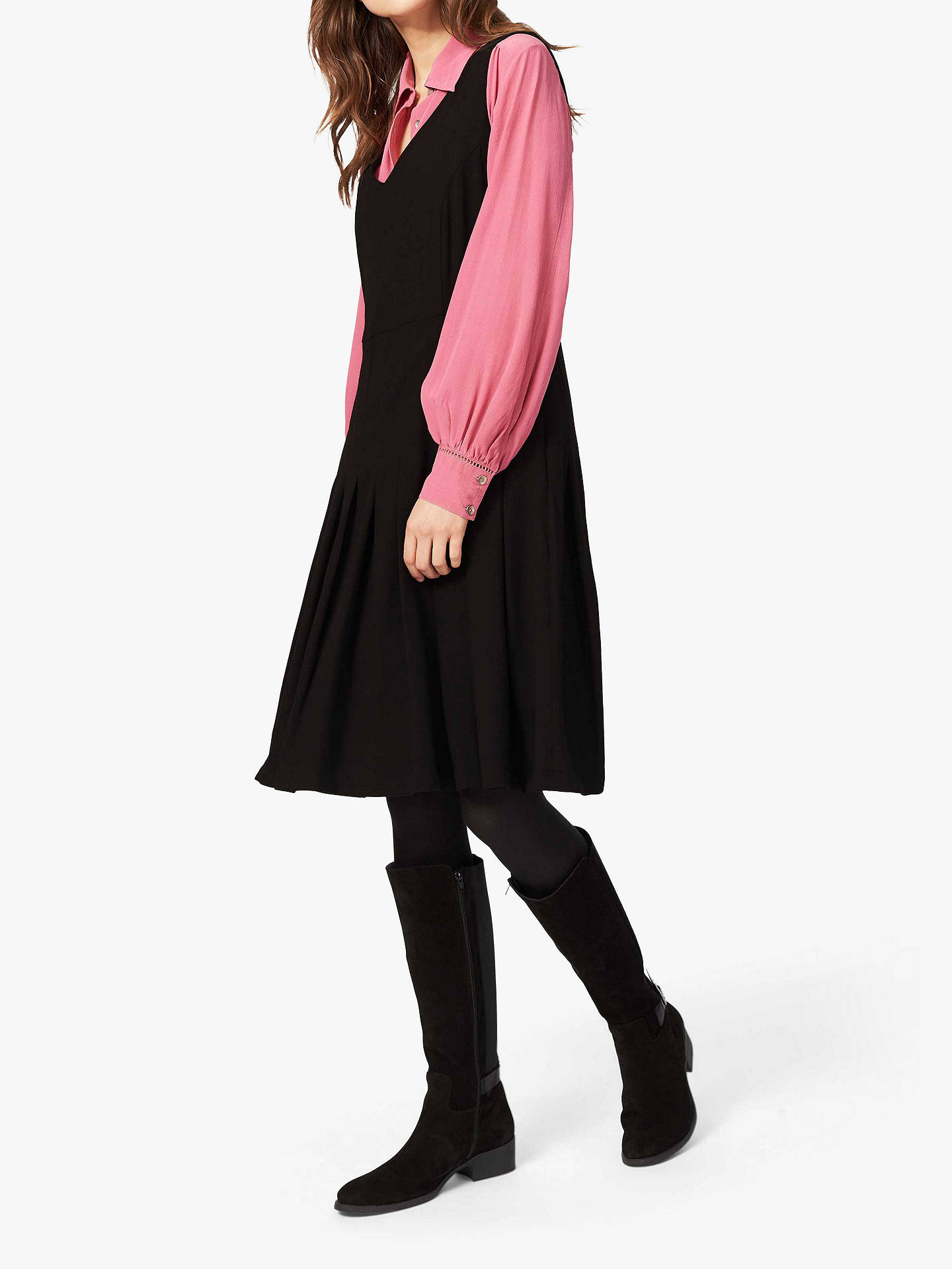 Buy Brora Pleated Wool Pinafore Dress, Black, 6 Online at johnlewis.com
