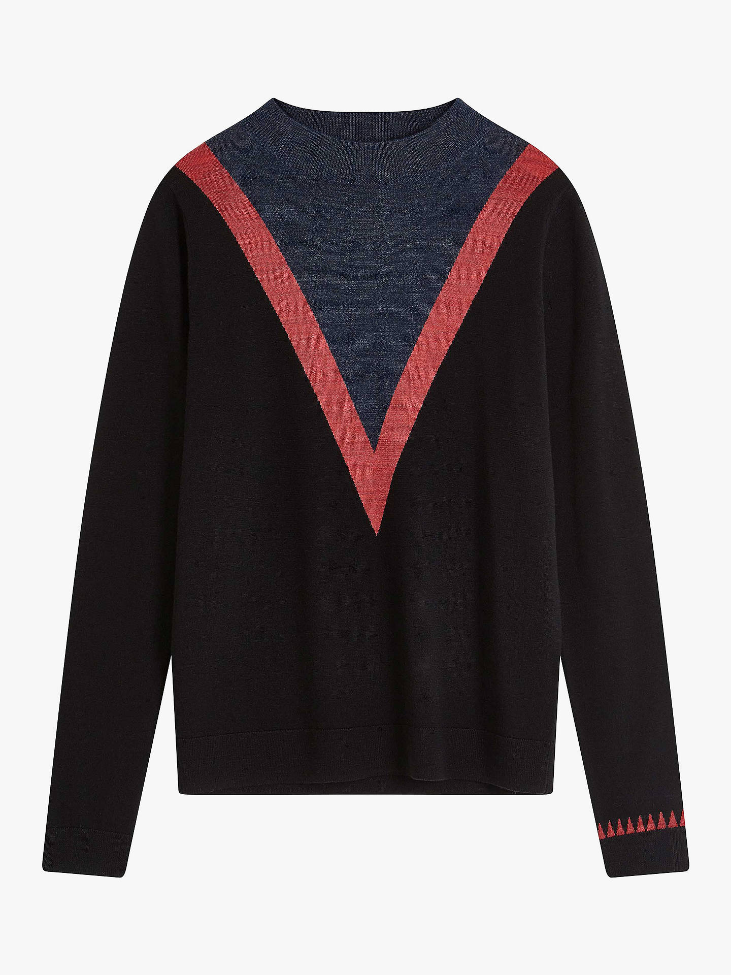 Buy Brora Merino Wool Chevron Jumper, Black/Crapapple, 10 Online at johnlewis.com