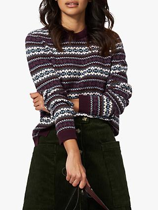 Brora Cashmere Fair Isle Jumper, Oxblood