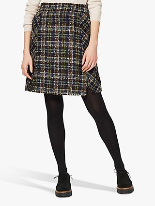 Brora Scottish Tweed Mini Skirt, Navy/Mist